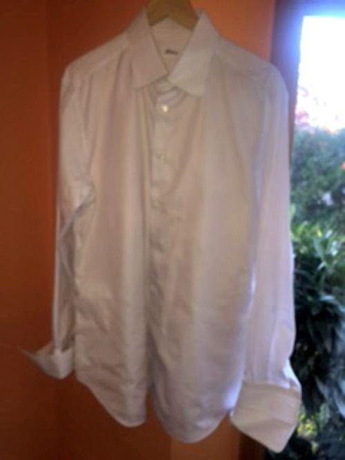 BRIONI 100% Cotton White Blue Pinstripe Button Down Dress Shirt SZ 43/17 ITALY