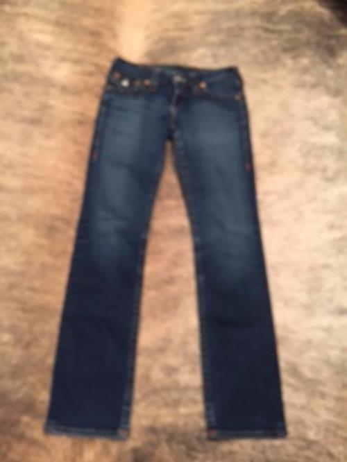 "NWOT TRUE RELIGION Dark Wash Drainpipe Jeans SZ 26 Made in USA ""Joey"""