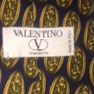 VALENTINO Cravatte 100% Silk  Navy Golden Filigree Design Tie Hand Made in Italy