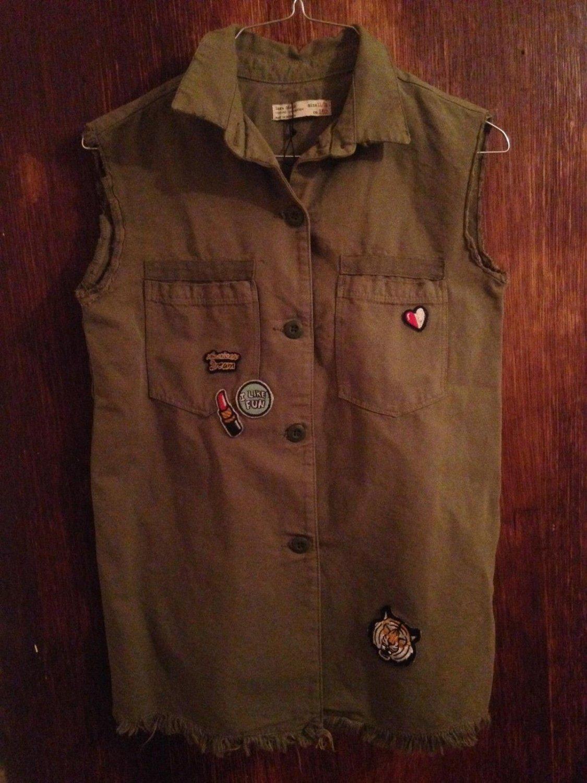 ZARA Girls Army Green Denim Vest w Patch Details SZ 11/12
