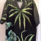 NWOT TOMMY BAHAMA 100% Silk Short Sleeve Black with Green Palm Leaf Print SZ XL