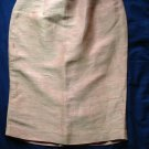 LOUIS FERAUD Linen Silk Blend Gold & Peach Pink Lined Pencil Skirt SZ US 10