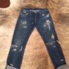 Pre-owned 3 x 1 Denim Wash Boyfriend Jeans Distressed Holes SZ 28 W 2