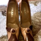 Pre-owned PRADA Beige & Brown Pumps Rose Detail SZ 38 Made in Italy