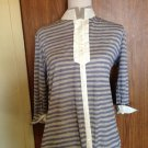 FABIANA FILIPPI 100% Cotton Blue & Gray Striped Knit Button Down Shirt SZ XXL