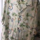 Tommy Bahama Men's 100% Silk Off White Dragon Detail Shirt SZ L