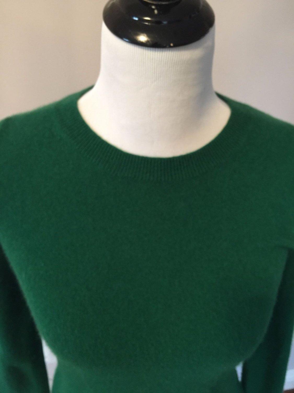 EUC JCREW 100% Italian Cashmere Green Long Sleeve Crewneck Sweater SZ S