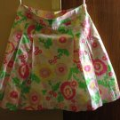 LILLY PULITZER White w Multicolor Floral Print 100% Cotton Skirt SZ 8