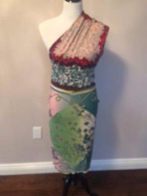 JPG JEANS Jean Paul Gaultier One Shoulder MultiPrint Botanical Dress SZ L