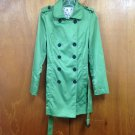Cotton Candy Brand Green Satin Trench Coat SZ M Kids Juniors Girls