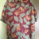 Tommy Bahama 100% Silk Red Button Down Shirt Green, Orange Floral Pattern SZ L