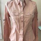 D&G Women's Pink Blue Striped Snap Button Shirt SZ M Cotton Blend