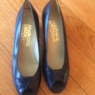 EUC Salvatore Ferragamo Blue Peep Toe Pumps SZ 7B Made in Italy