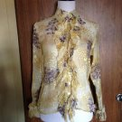 Women's ISSUE brand 100% silk Ruffled Multicolor Blouse SZ S