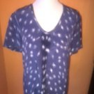 NWOT Equipment 100% Silk Periwinkle Blue White Abstract  Print SZ S/P Career
