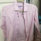 Robert Graham Boys Pink & White Check Button Down SZ S 8 100% Cotton