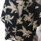 Tommy Bahama Men's 100% Silk Black Shirt Gray Leaves Detail SZ M