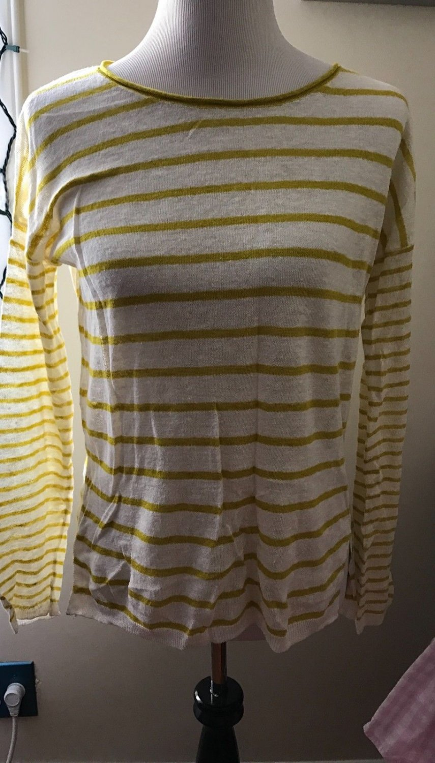 Vince White 100% Linen Yellow Striped Long Sleeved Sweater SZ S