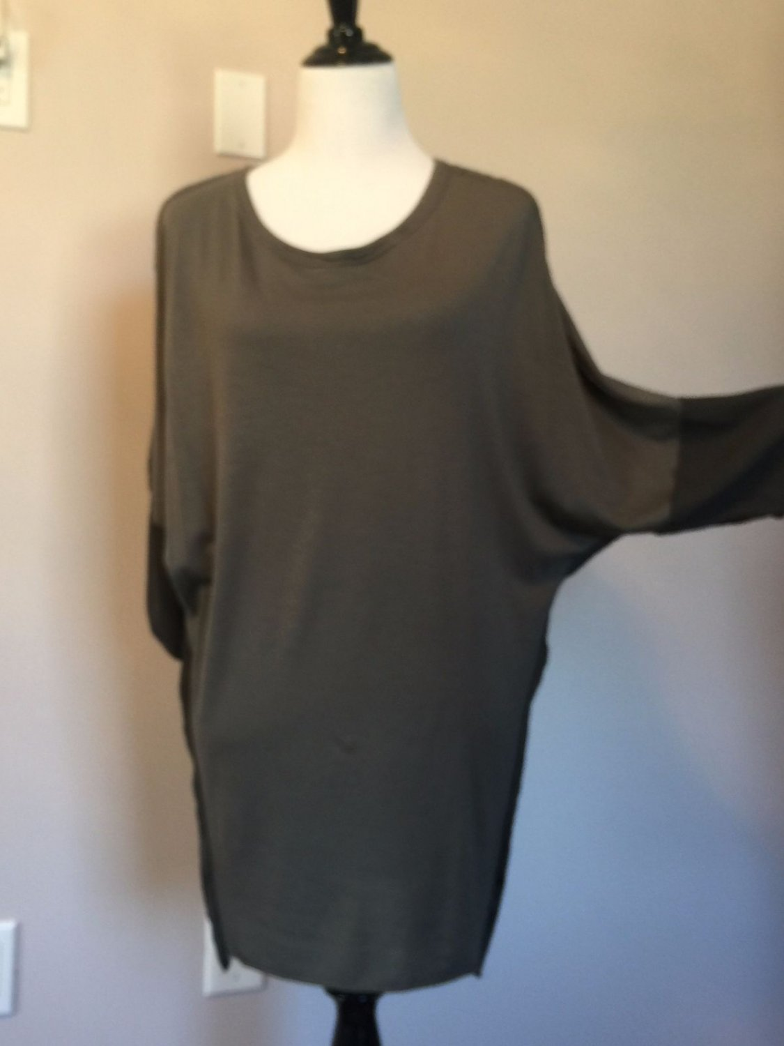 Pre-owned HACHE Gray Wool Blend & Viscose Blend Tunic Top SZ 42 Made in Italy