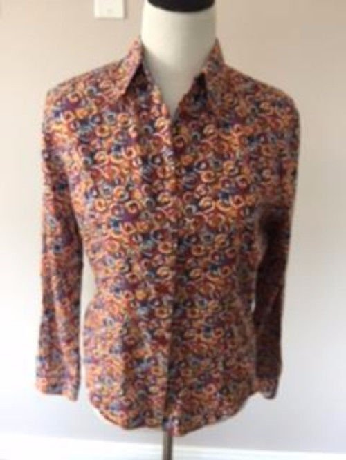 VTG MISSONI SPORT Multicolor Abstract 100% Cotton Button Down Shirt SZ IT 44