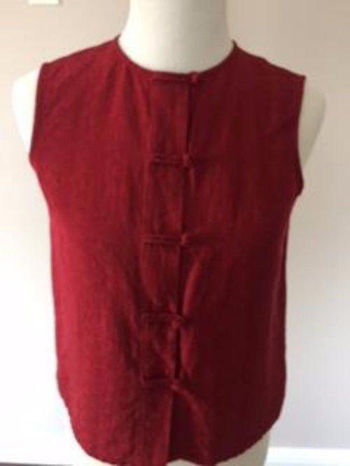 EUC EILEEN FISHER Cranberry Red Silk Blend Sleeveless Blouse Frog Buttons SZ XS