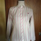 LILLY PULITZER 100% Cotton White Button Down with Pink and Green Stripes SZ 8