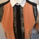 SANDRO Sleeveless Blush, Black, White Collar Silk Blouse Lace Detail SZ 1 Career