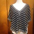 Women's SPLENDID Cashmere Wool Blend Grey & Black Striped Cardigan SZ M