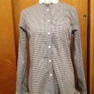 STEVEN ALAN 100% Cotton Black & White Check Pattern White Collar Button Down SZ