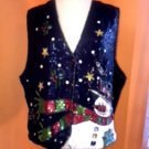 EUC Quacker Factory Blue Vest Sequin Snowman Christmas Scene SZ 2X Festive Cheer