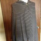 BOBEAU Gray & White Striped  Single Button Cape SZ 2X Made in Mexico Plus Size