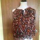 NWT Milly Aztec Print Orange Brown, White Sleeveless Top SZ 4 Made in USA