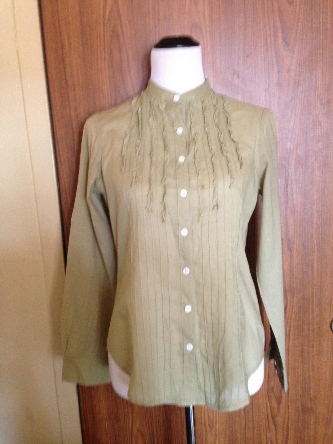 Women's BODEN Pea Green 100% Cotton Button Down Shirt SZ US 12