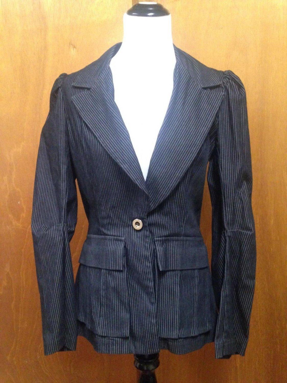 MASON Cotton Blend Pinstripe Ruffled Blazer Jacket SZ 10 Made in USA