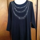 NWT Quacker Factory Black Sweatshirt Crystal Bedazzled Bib SZ 2X