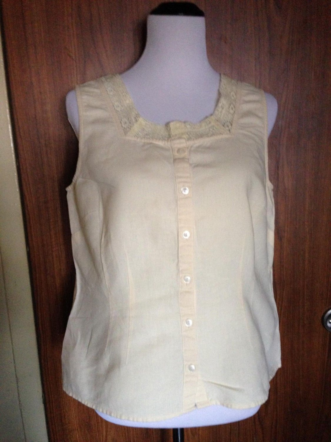 J. JILL Pale Yellow Cotton Blend Sleeveless Tank Lace Square Collar Detail SZ M
