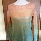 ANTHROPOLOGIE WILLOW & CLAY Cotton  Blend Ombre Orange Teal Gold  Sweater SZ S