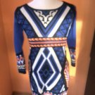 Anthropologie Flying Tomato  Aztec Print Sweater Dress Blue Orange Black  SZ L