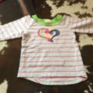 FLAPDOODLES Cut Out  Shoulder Sweatshirt Striped Abstract Heart Detail 3T