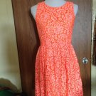 MADEWELL Neon Orange Lace Floral Design Cotton Blend Sleeveless Dress SZ 4
