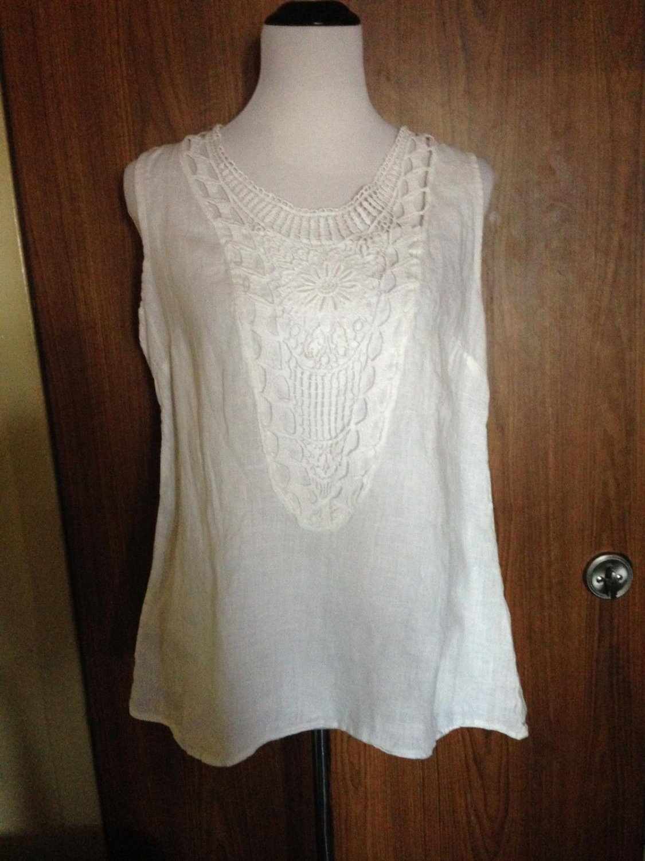 PIAZZA ROMA 100% Linen White Sleeveless Top Lace Crochet Detail SZ XS