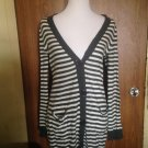 J. J. Basics 100% Cotton B&W Striped Cardigan SZ M