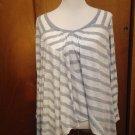 Women's ELLA MOSS White & Gray Striped Asymmetrical Top SZ M