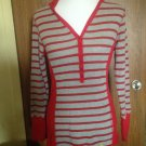 TOMMY GIRL Red & Gray Striped Hooded Button Front Sweater SZ XL