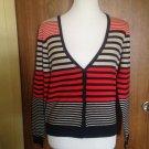 MAX STUDIO Cotton Blend Multicolor Striped V Neck Cardigan SZ L