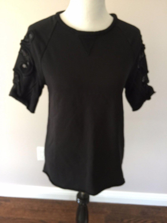 VGC ZARA W&B Collection Black 100% Cotton Blend nsert Sweatshirt SZ S