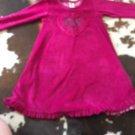 Pre-owned Mignon Cranberry A Line Dress Heart Applique Front Rhinestone SZ 4T