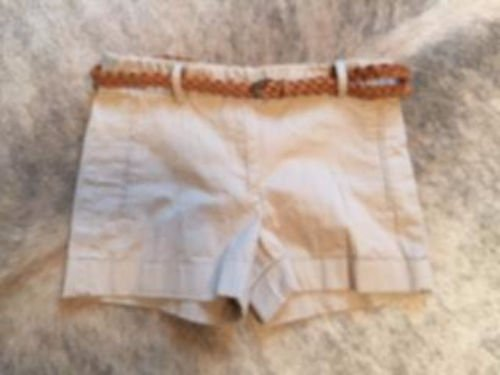 Pre-owned ZARA BASIC Khaki Shorts Braided Leather Belt SZ XS