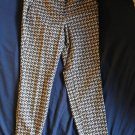 CYNTHIA ROWLEY Button & Hook Fastening Cotton Blend Animal Print Pants SZ 4