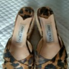 EUC JIMMY CHOO Platform Animal Print Espadrille Slides Sandals SZ 6 Italy